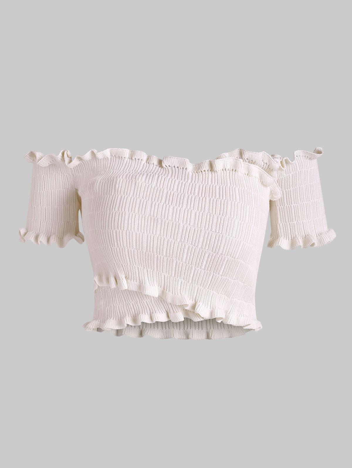 Off Shoulder Frilled Knitted Crop Top