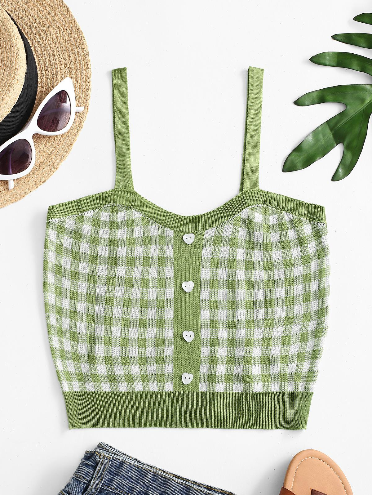 Plaid Knit Crop Tank Top