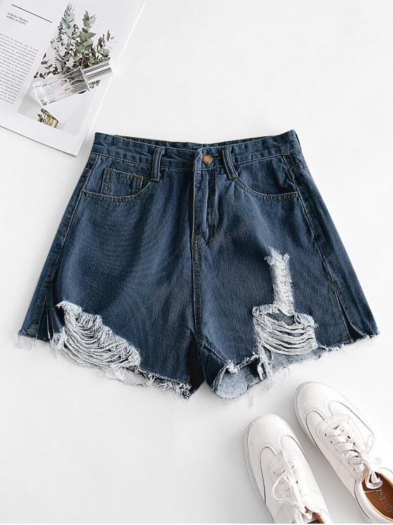 Shorts de Brim Tingido com Detalhes Desfiados - Azul Escuro L