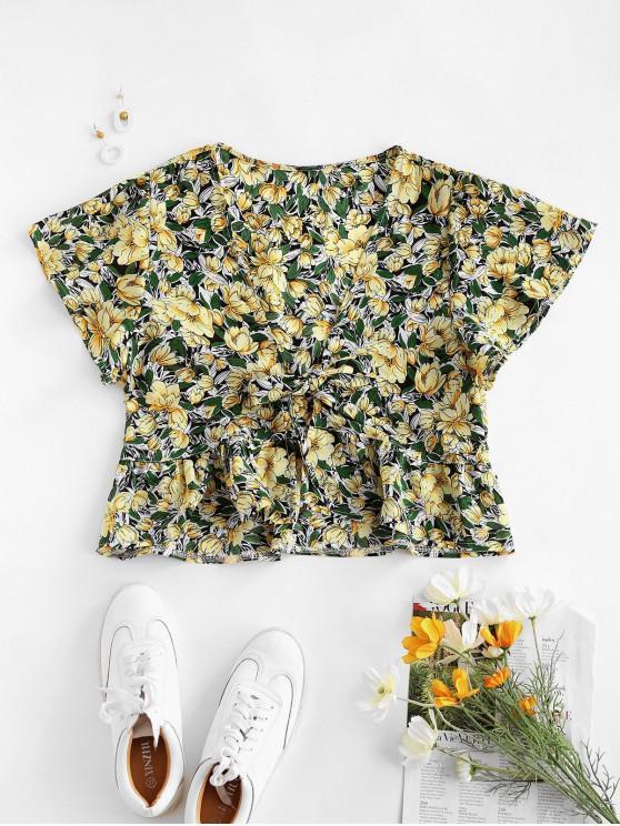 Blusa de tecido com mangas compridas - Amarelo S