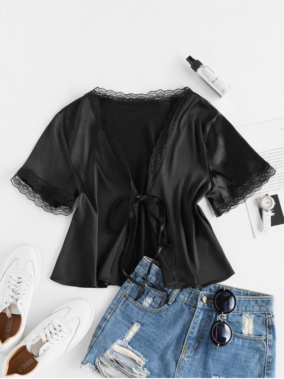 best ZAFUL Eyelash Lace Front Tie Satin Blouse - BLACK S
