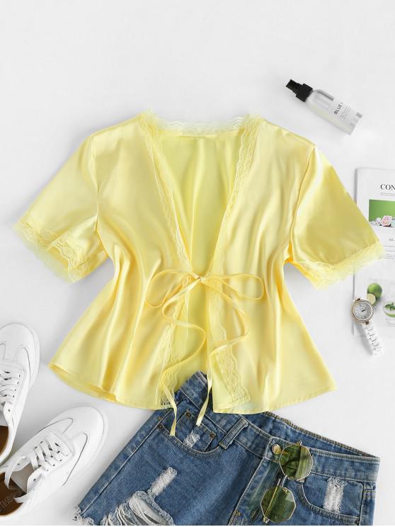 fashion ZAFUL Eyelash Lace Front Tie Satin Blouse - CORN YELLOW M