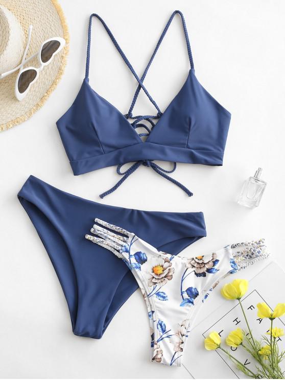 sale ZAFUL Flower Braided Lace Up Three Pieces Bikini Swimsuit - BLUE KOI L