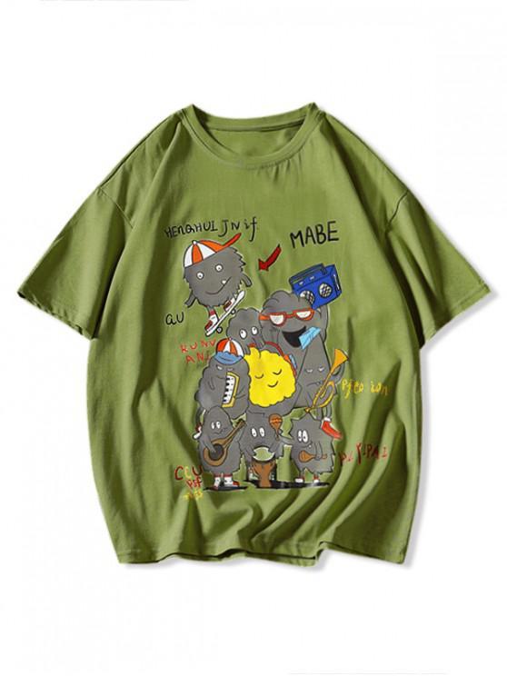 Redarea muzicii de desen animat de imprimare de bază T-shirt - Galben verde 3XL