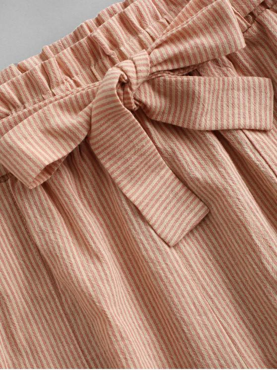 ZAFUL Knitted Stripes Belted Paperbag Shorts Set - Multi-a S