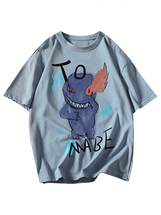 outfit Cartoon Fire Evil Letter Print Basic T Shirt - DENIM BLUE 3XL