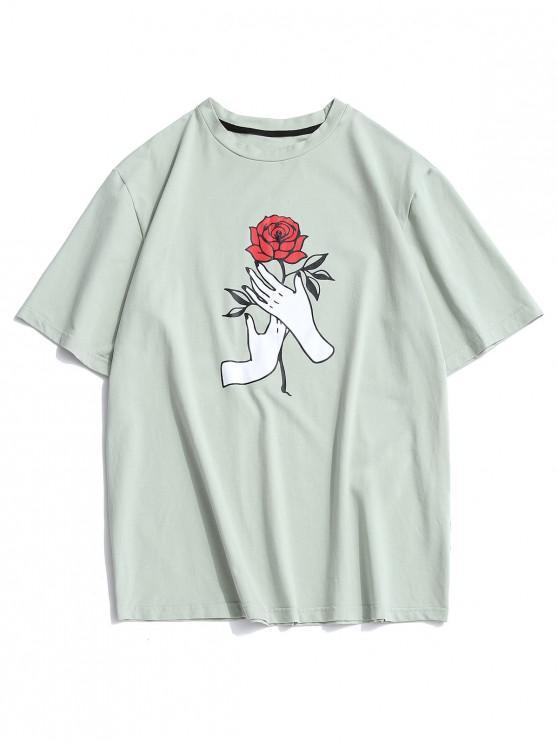 ZAFUL Hand Rose Print Basic T Shirt - الظلام البحر الاخضر S
