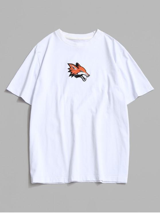 trendy Animal Embroidery Basic T Shirt - WHITE 2XL