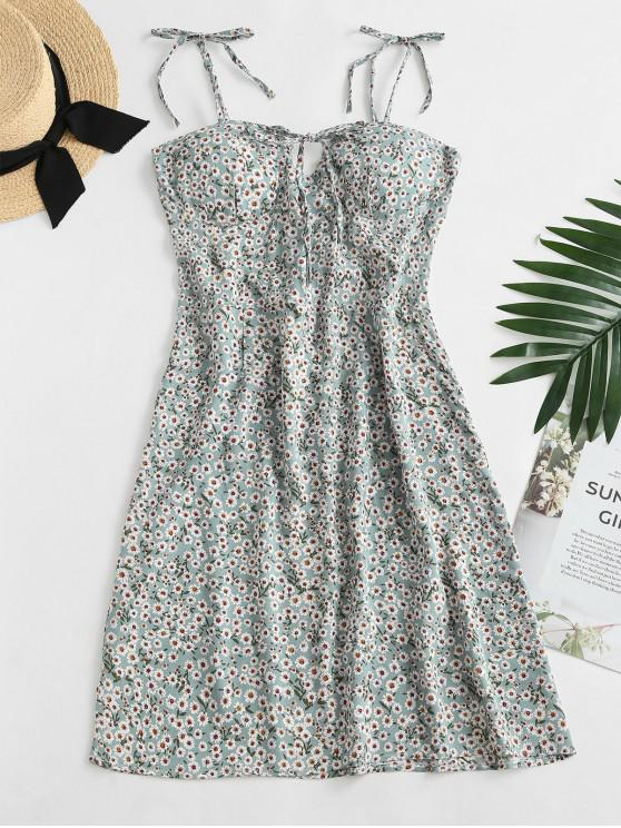Ditsy Print Tie Shoulder Bowknot Mini Dress - اخضر فاتح XL