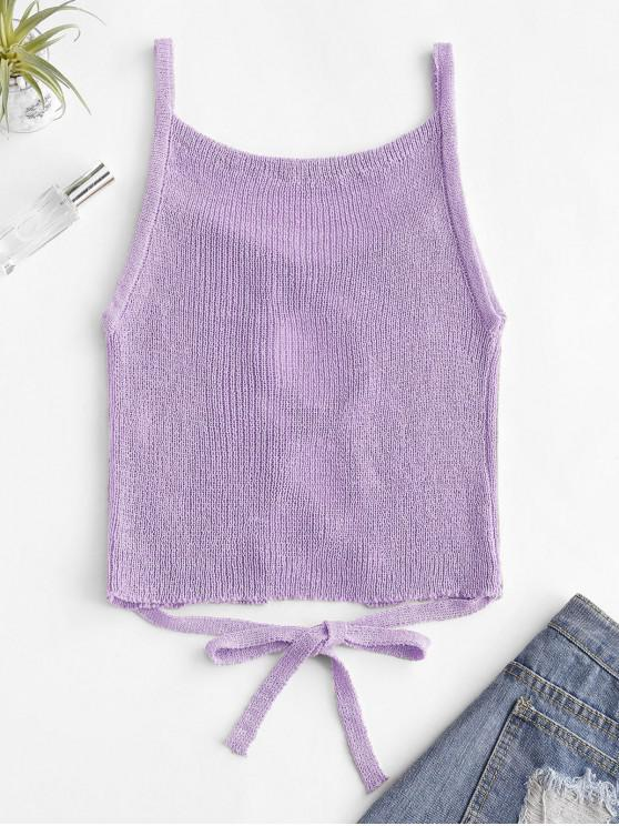 womens Lattice Front Tie Waist Knitted Tank Top - LIGHT PURPLE ONE SIZE