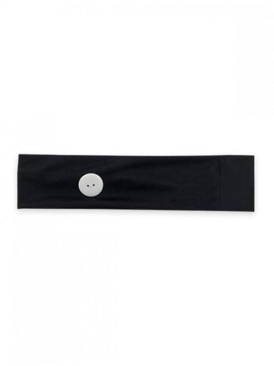 affordable Sports Yoga Button Knitted Headband - BLACK