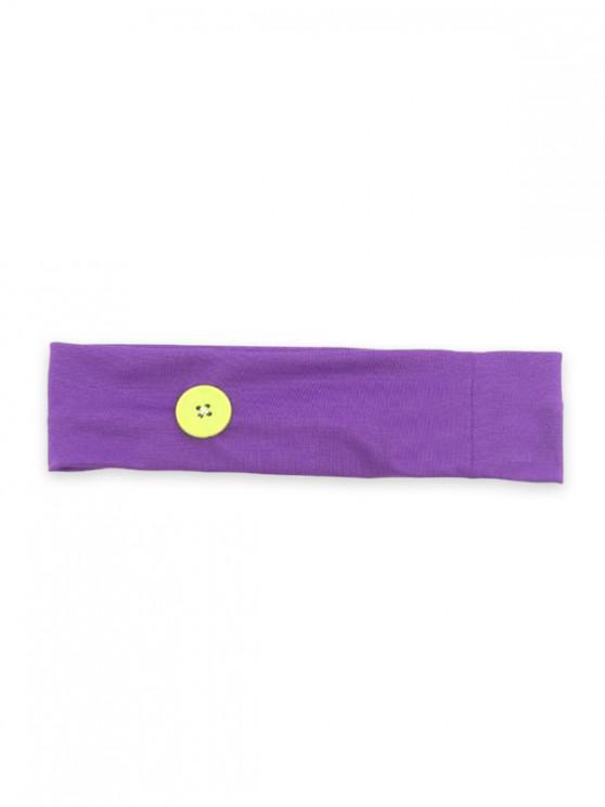 buy Sports Yoga Button Knitted Headband - PURPLE