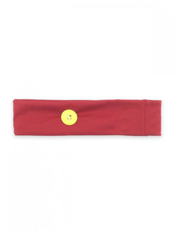 Sports Yoga Button Knitted Headband - أحمر