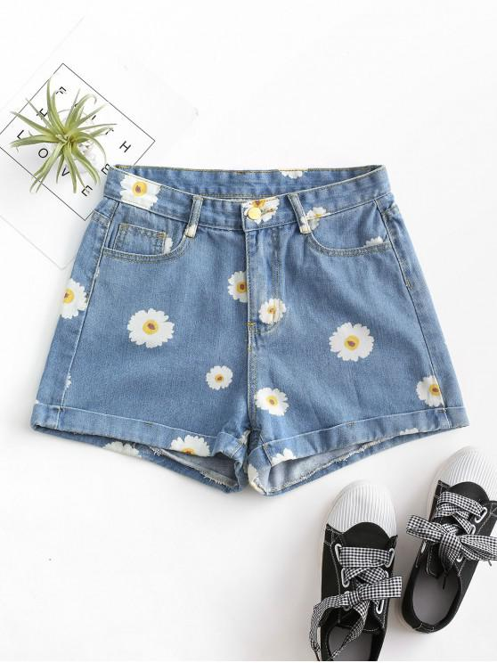 outfit Cuffed Hem Daisy Print Denim Shorts - LIGHT BLUE XS