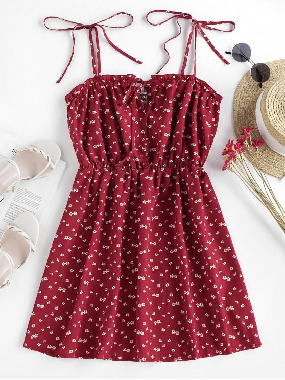 womens ZAFUL Tie Ditsy Print Sundress - RED M