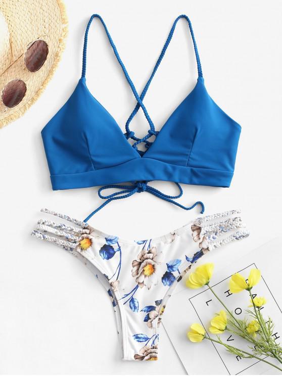 ladies ZAFUL Lace-Up Braided Flower Bikini Set - OCEAN BLUE S
