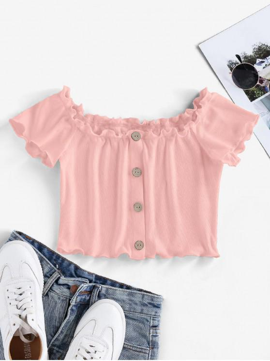 outfits ZAFUL Ribbed Mock Button Lettuce Trim Crop T-shirt - LIGHT PINK L