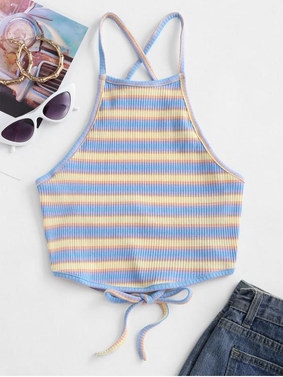 outfits ZAFUL Criss Cross Ribbed Stripes Cami Top - LIGHT BLUE XL