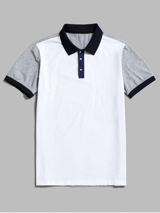 Colorblock Panel Turn Down Collar Ringer T-shirt - أبيض 2XL