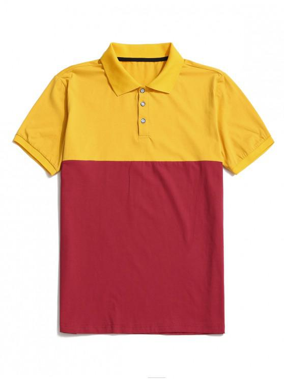 Camiseta de Cuello de Bloqueo de Color con Panel - Amarillo S