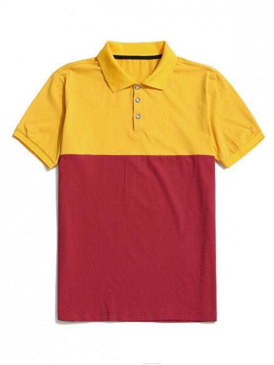 Farbblock Panel Umlegekragen T-Shirt - Gelb 2XL