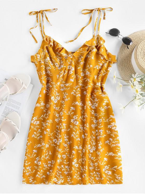 hot ZAFUL Tie Ruffles Ditsy Print Sundress - YELLOW S
