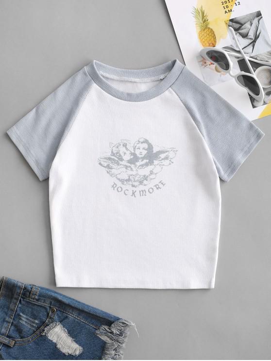 Camiseta Béisbol Gráfico Rock - Blanco S
