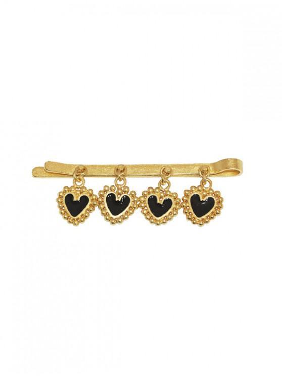 women's Heart Pendant Design Alloy Hairpin - BLACK