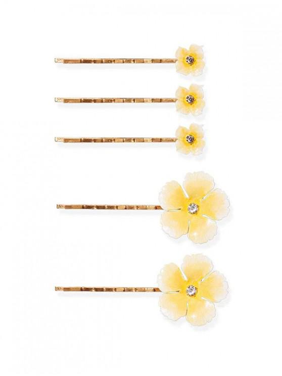 best 5Pcs Flowers Bridal Hairpins Set - LIGHT YELLOW