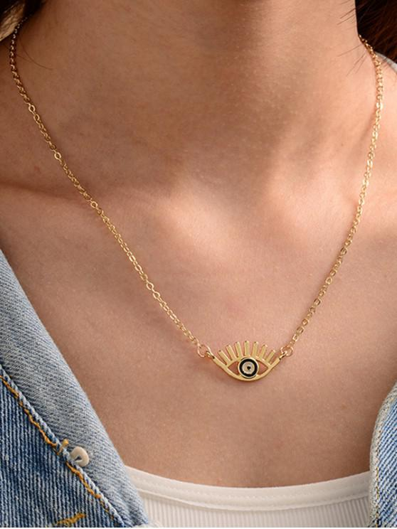 trendy Eye Shape Chain Pendant Necklace - GOLDEN EYE-M