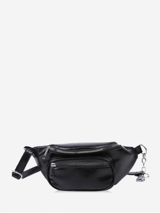 online Pure Color Zip Pockets Chest Bag - BLACK
