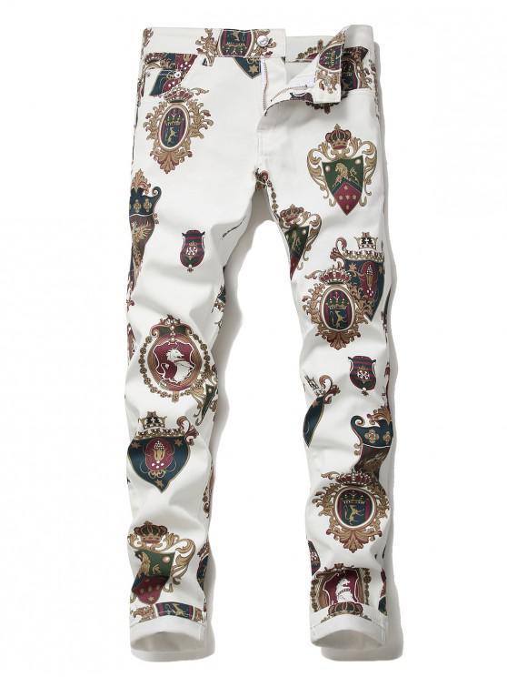 Pantalones Lápiz Denim Estampado Caballo Medalla Cremallera - Blanco 34