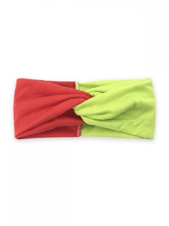 Colorblock Yoga Fitness Wide Headband - الأصفر احمر اصفر