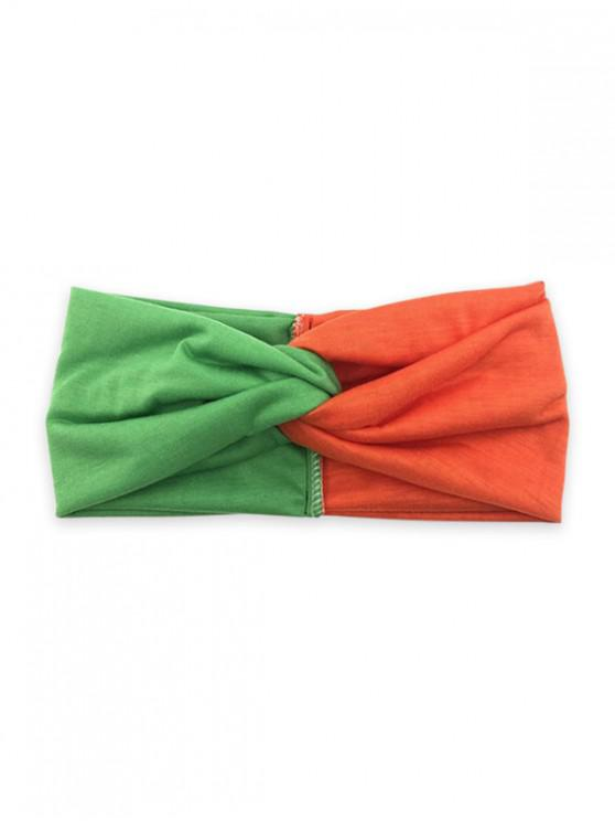 fashion Colorblock Yoga Fitness Wide Headband - TANGERINE ORANGE GREEN