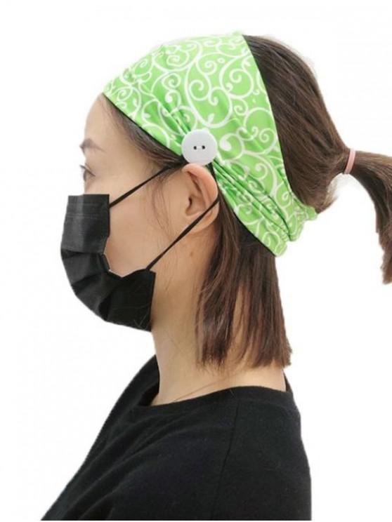 fancy Button Floral Printed Fitness Headband - GREEN