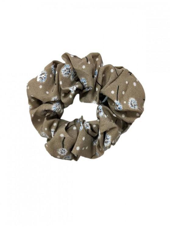 ladies Floral Dot Print Seamless Fabric Scrunchy - LIGHT KHAKI