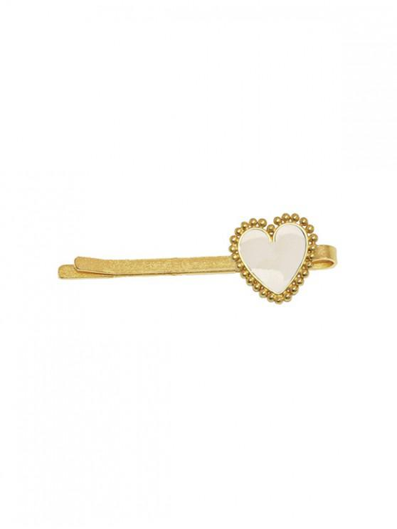buy Heart Shape Glazed Alloy Hairpin - WARM WHITE