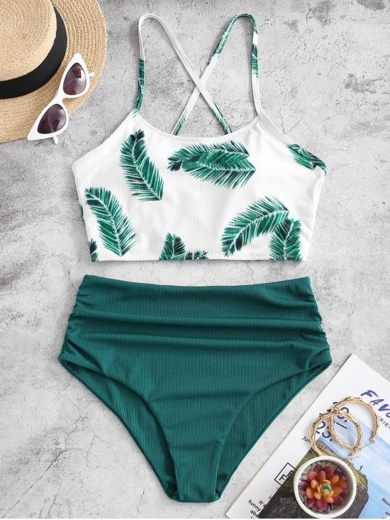 ZAFUL Ribbed Criss Cross Leaves Print Tankini Swimwear - ديب غرين M