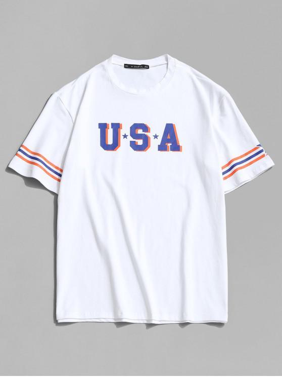 USA Star and Striped Print Basic T-shirt - أبيض XL