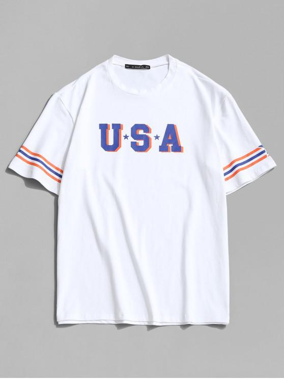 buy USA Star and Striped Print Basic T-shirt - WHITE 2XL