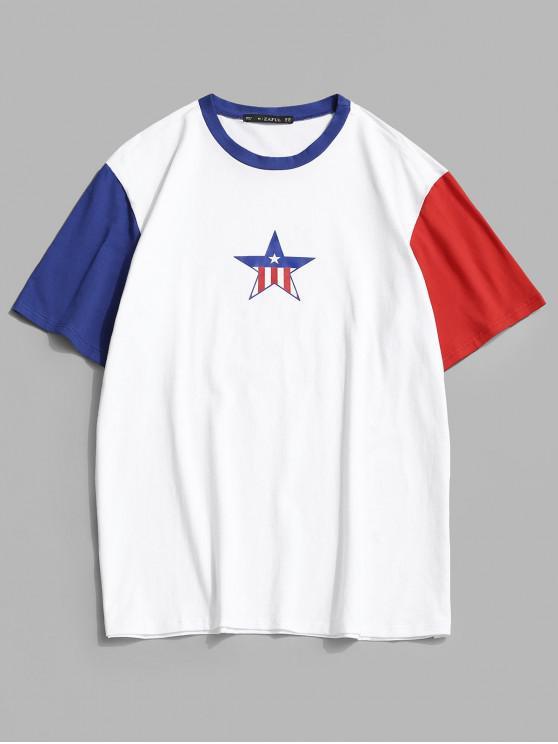 ladies Striped Star Colorblock Panel T-shirt - WHITE XL