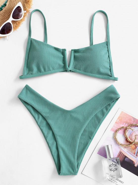 affordable ZAFUL V-wired Ribbed High Cut Bikini Swimwear - PEACOCK BLUE M