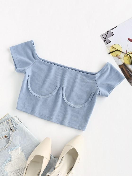 outfit ZAFUL Basic Plain Crop Tee - BLUE KOI XL