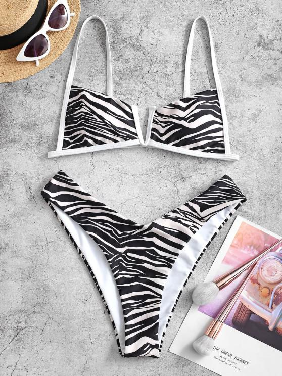 ZAFUL Zebra Print V-wired High Cut Bikini Swimwear - متعددة-A L