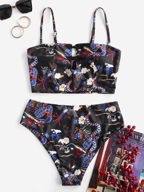 women's ZAFUL Dragon Print Oriental Frog Button High Waisted Tankini Swimwear - BLACK M