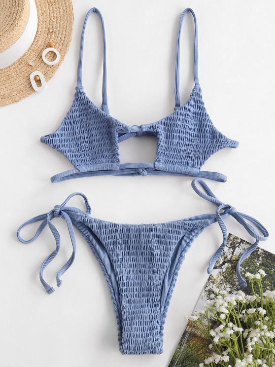 ZAFUL Kittel Gerippte Bralette Schlüsselloch Bikini Badebekleidung - Seiden Blau S
