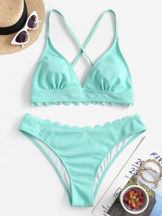 ZAFUL Scalloped Crisscross Textured Bikini Swimwear - سيليست S