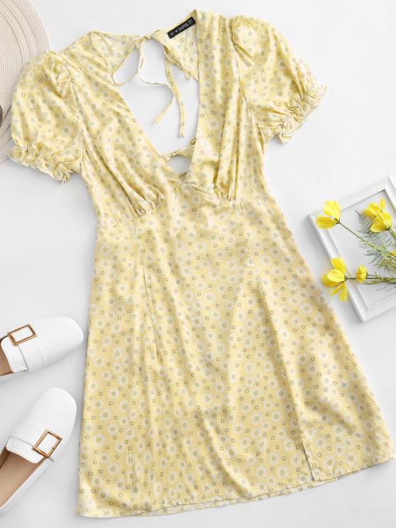 best ZAFUL Ditsy Floral Low Cut Tie Cutout Slit Dress - YELLOW L