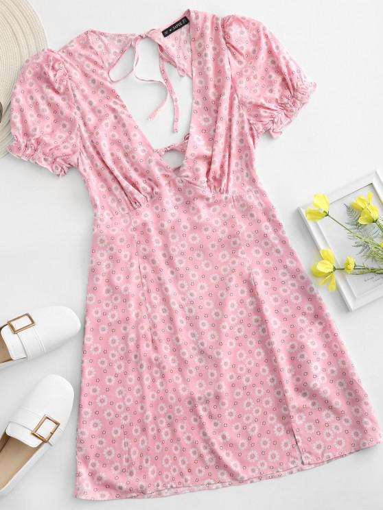 shop ZAFUL Ditsy Floral Low Cut Tie Cutout Slit Dress - LIGHT PINK M