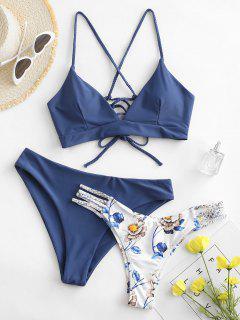 ZAFUL Flower Braided Lace Up Three Pieces Bikini Swimsuit - Blue Koi S